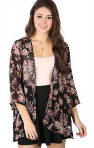 Black Floral Kimono Cardigan