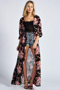 Black Floral Kimono Images