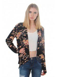 Black Floral Kimono Jacket