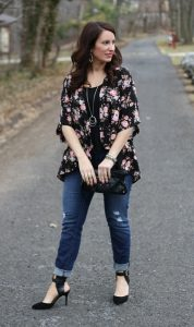 Black Floral Kimono Outfit