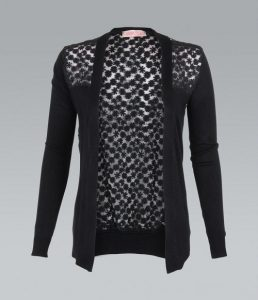 Black Lace Back Cardigan