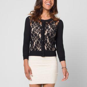 Black Lace Cardigan Sweater