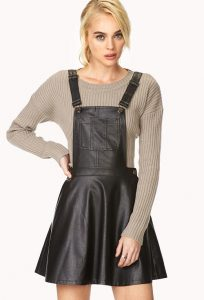 Black Leather Overall Dress