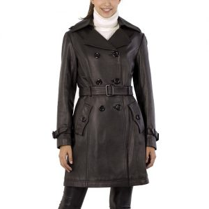 Black Leather Trench Coat Women