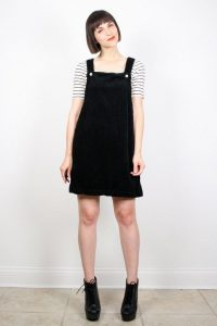 Black Overall Dress Outfit