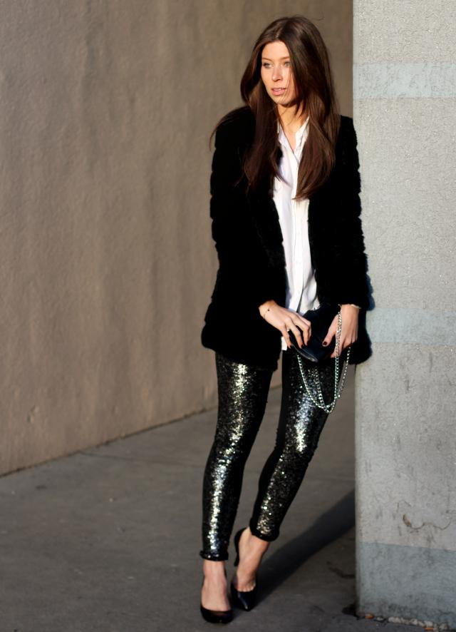 Black Sequin Leggings | Wardrobe Mag