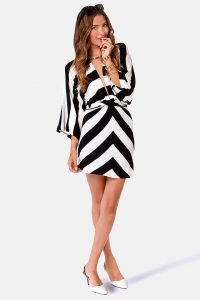 Black and White Kimono Dress