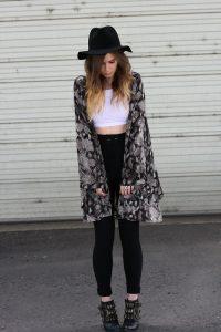 Black and White Kimono Outfit