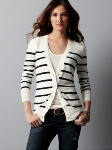 Black and White Striped Cardigan Images