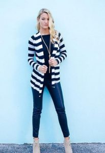 Black and White Striped Cardigan Outfit