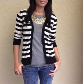 Black and White Striped Cardigan Sweater