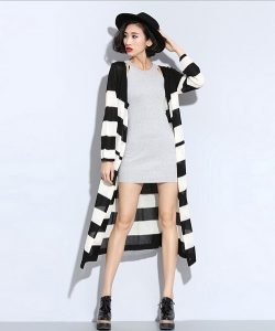 Black and White Striped Long Cardigan