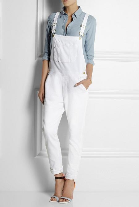 White Denim Overalls Wardrobe Mag