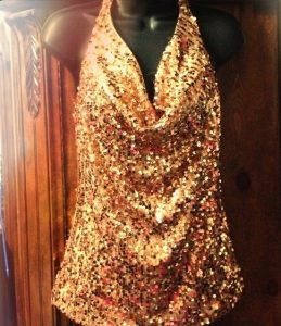 Gold Sequin Halter Top
