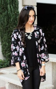Images of Black Floral Kimono