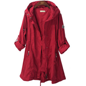 Images of Red Trench Coat with Hood