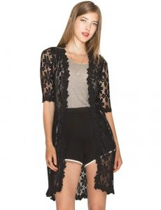 Long Black Lace Cardigan Outfit