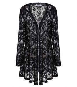 Long Sleeve Black Lace Cardigan