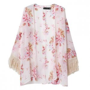 Pink Fringe Kimono