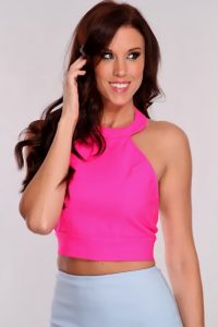 Pink Halter Crop Top