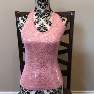 Pink Sequin Halter Top