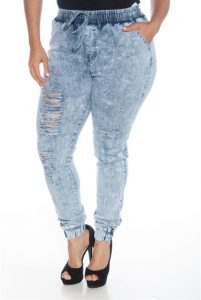Plus Size Denim Joggers