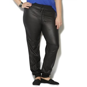 Plus Size Leather Joggers