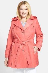 Plus Size Womens Trench Coat with Hood