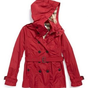 Red Trench Coat with Hood