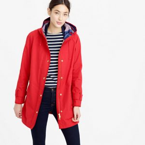 Red Trench Coat with Hood Images