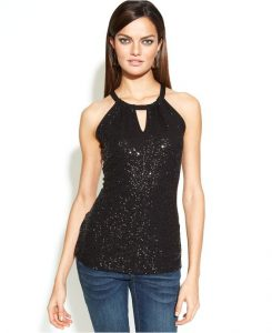 Sequin Halter Top Images