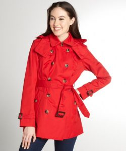 Trench Red Coat with Hood