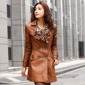 Womens Brown Leather Trench Coat