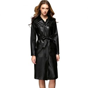 Womens Leather Trench Coat Long