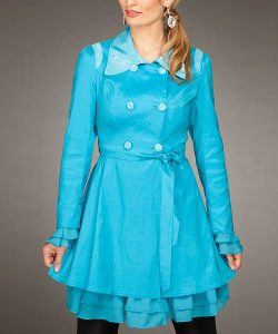 Womens Turquoise Trench Coat