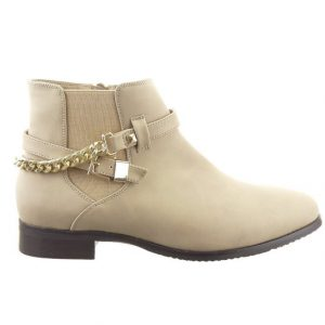 Beige Ankle Boots Low Heel