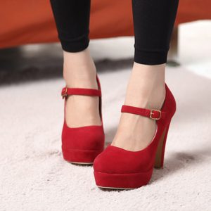Red Mary Jane Platform Shoes