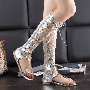 Silver Knee High Gladiator Sandals