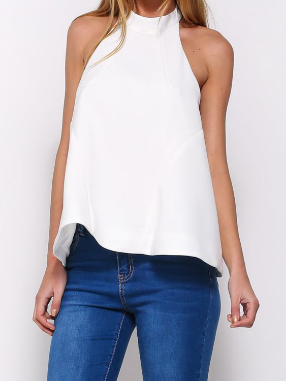 Woven fabric Halter neck Button back fastening Loose fit Our model wears a UK 8 and is cm/5'9'' tall.